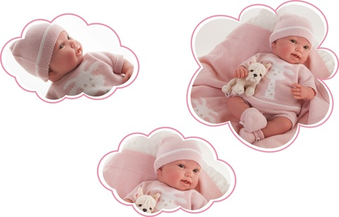 Munecas Antonio Juan Кукла Реборн младенец Татьяна в розовом 40см (8121P)