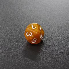 Золотой мраморный десятигранный кубик (d10) для ролевых и настольных игр