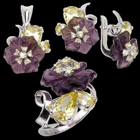 Комплект украшений с цветами из фиолетового кварца и фианитами № 132