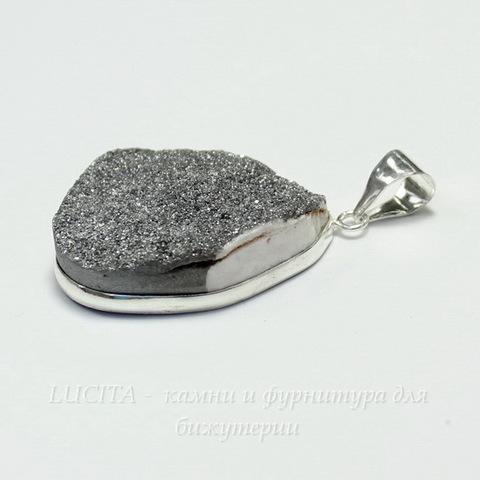 Подвеска Кварц в рамке (цвет - античное серебро) 32,8х27,7х8,6 мм №9