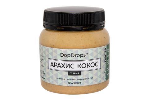 DopDrops Арахис Кокос Паста 250г [стевия], платистик без сахара вкусно и полезно