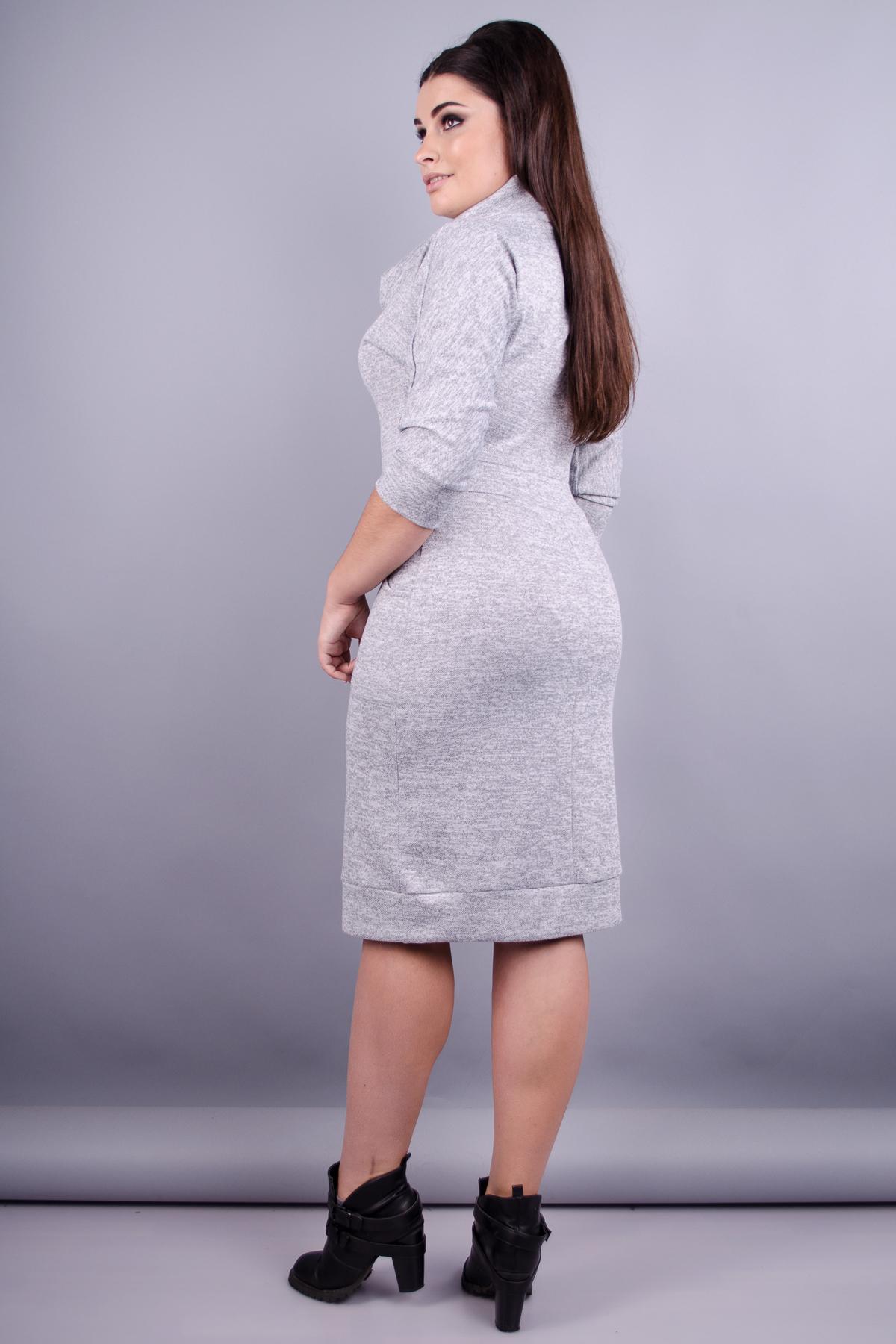 Єва. Стильна жіноча сукня великих розмірів. Сірий. меланж. 2f47096db39c7