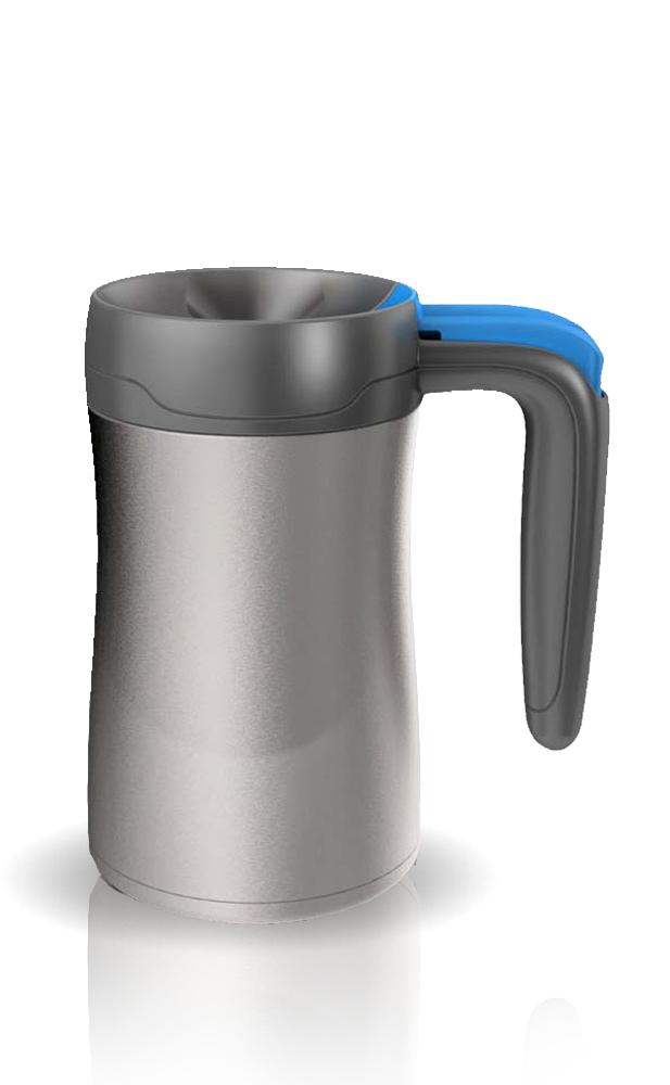 Термокружка Contigo Fulton (0,36 литра) серая с голубой кнопкой