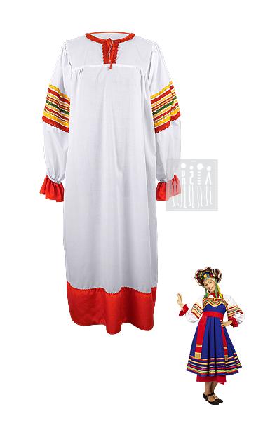 Тульский народный костюм изготовлен из хб ткани, подол и манжеты на рукавах отделаны полосками красного креп-сатина, отороченного тесьмой. Горловина, украшенная декоративной тесьмой, на завязках.