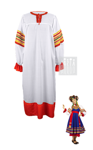 Картинка Тульский народный костюм изготовлен из хб ткани, подол и манжеты на рукавах отделаны полосками красного креп-сатина, отороченного тесьмой. Горловина, украшенная декоративной тесьмой, на завязках.