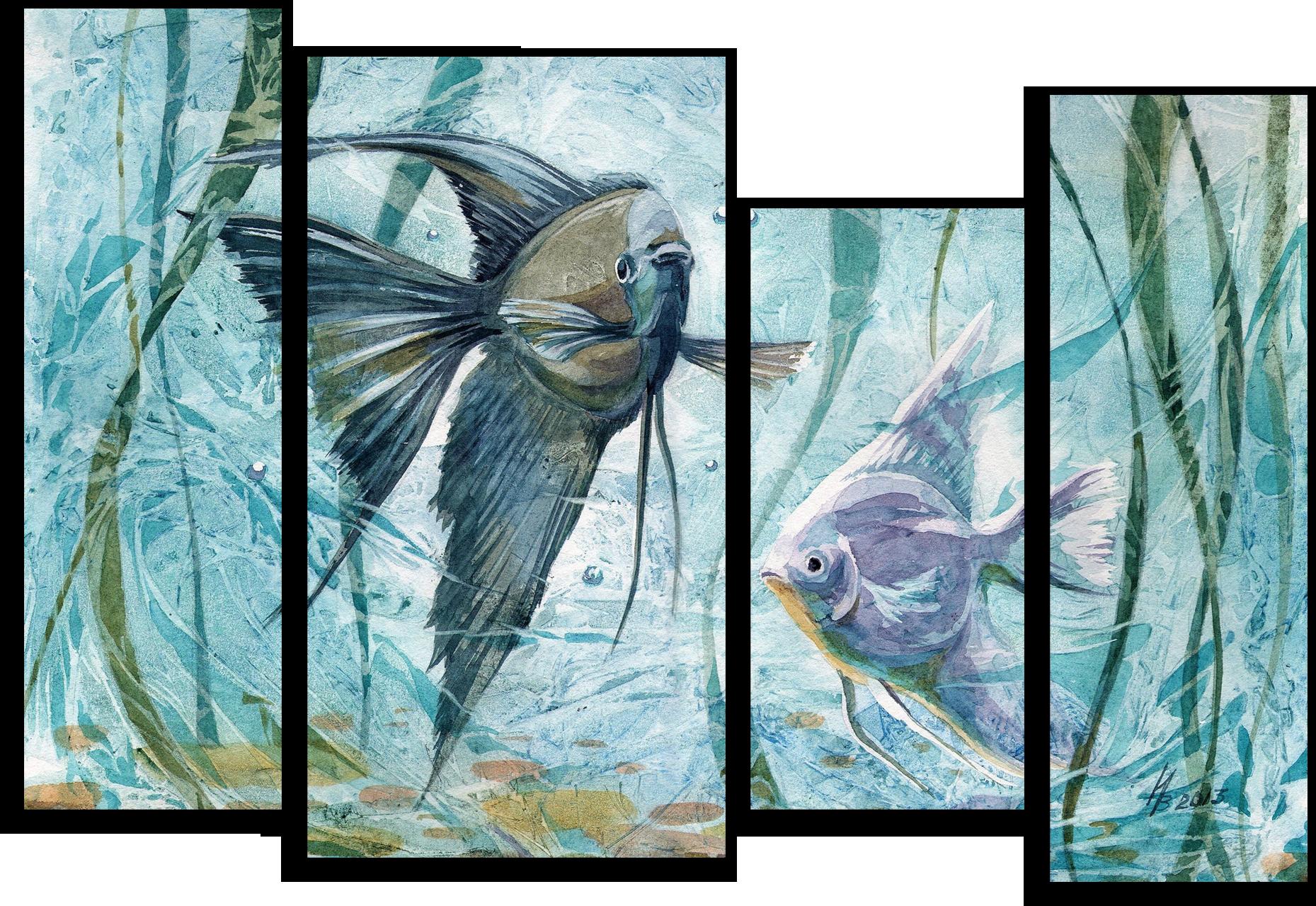 """Животные Модульная картина """"Аквариумные рыбки"""" М497.png"""