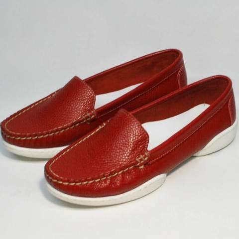 Женские мокасины туфли без каблука. Красные мокасины летние Evromoda WR.