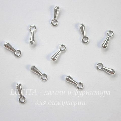 Капелька 7х2,5 мм (цвет - серебро), 10 штук