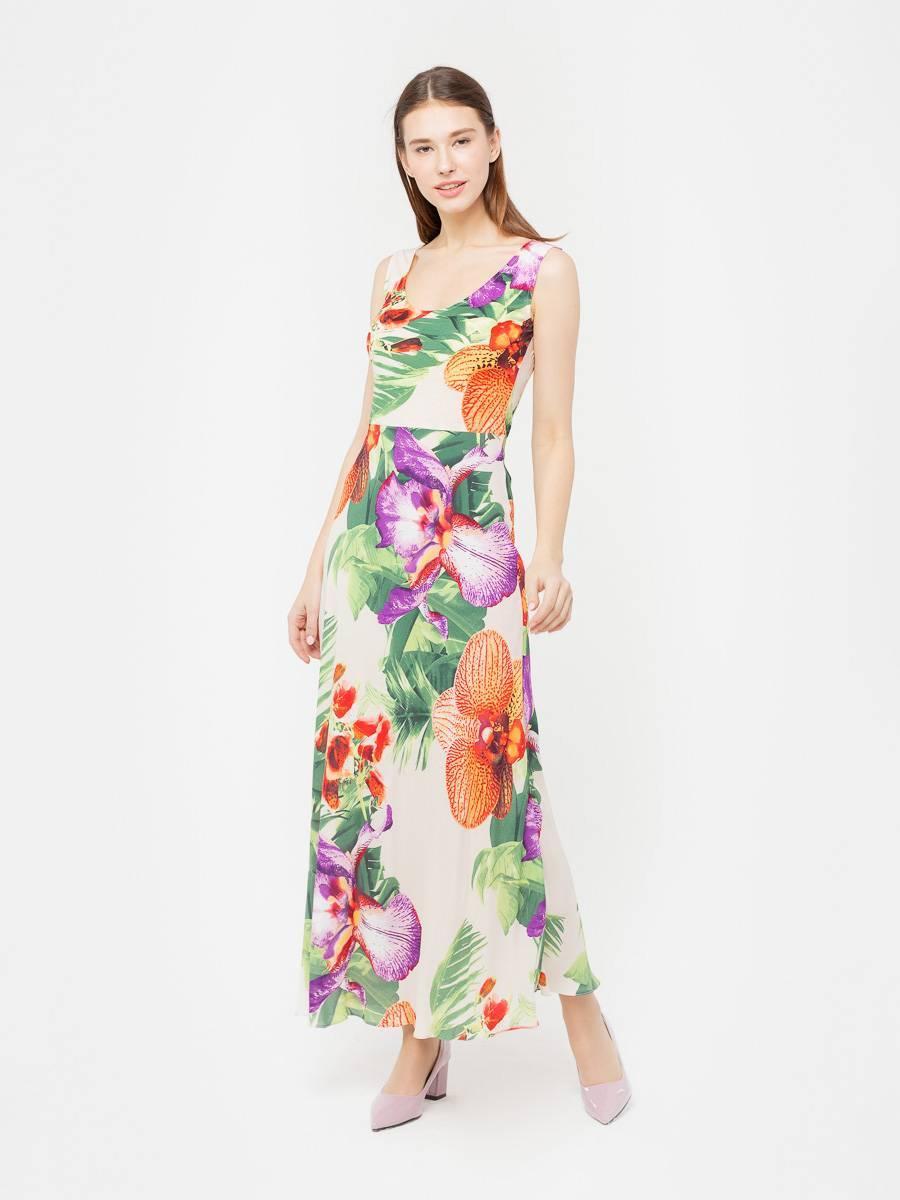 Платье З020-119 - Летнее, длинное платье приталенного силуэта,  расклешенное к низу. Прекрасный вариант для летних прогулок и отпуска. Пояс в комплект не входит.