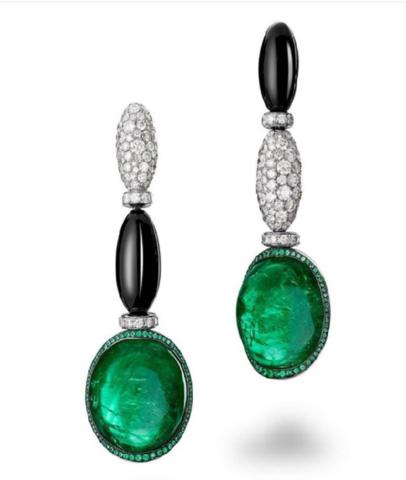 Серьги из серебра с цирконами и зеленым кварцем в стиле  De Grisogono