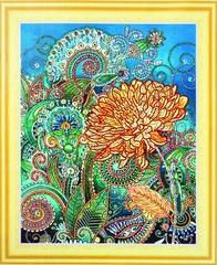 Золотая хризантема- алмазная картина с фигурными стразами