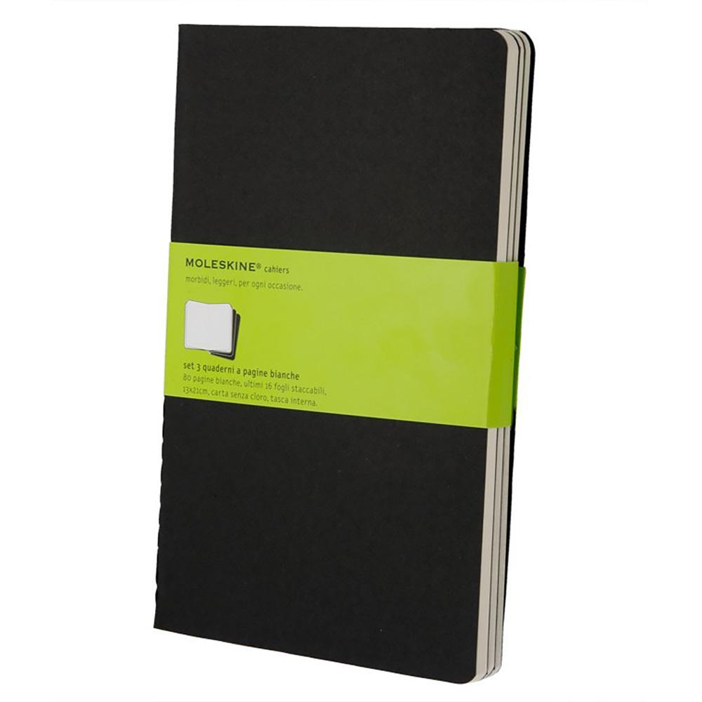 Набор 3 блокнота Moleskine Cahier Journal Large, цвет черный, без разлиновки