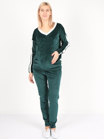Евромама. Костюм плюшевый брюки и джемпер, зеленый