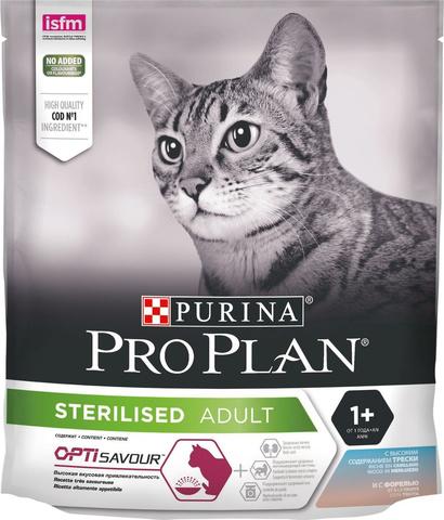 Pro Plan сухой корм для стерилизованных кошек (треска, форель) 400 г