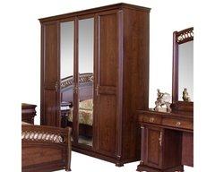 Шкаф 4-дверный Нотти с 2-мя зеркалами (Темный орех)