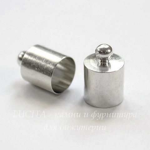 Концевик для шнура 7,5 мм, 12х8 мм (цвет - платина), 2 штуки