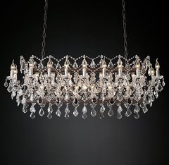 19th C. Rococo Iron & Clear Crystal Rectangular Chandelier 63