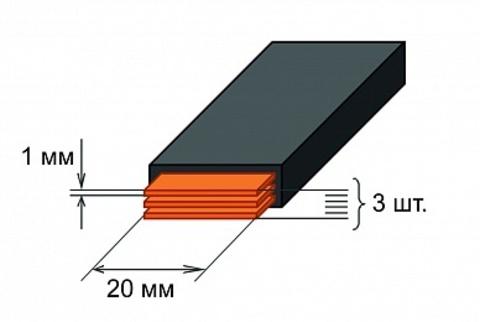 Шина медная гибкая изолированная ШМГ 3х(20x1мм) 2м.