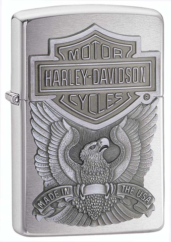 Зажигалка ZIPPO Classic Brushed Chrome™ с эмблемой Harley-Davidson® ZP-200HD.H284