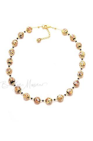 Ожерелье из муранского стекла Арлекино золотистое с крупными бусинами
