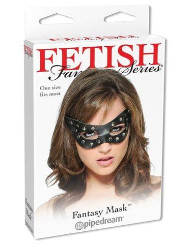 БДСМ Маска на глаза кожаная с заклепками Fantasy Mask