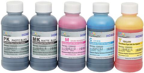 Комплект водорастворимых чернил для 5-ти цветных широкоформатных плоттеров Epson. 5x200 мл