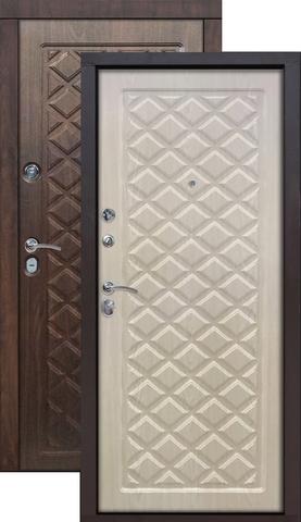 Дверь входная Цитадель Kamelot винорит, 2 замка, 1,5 мм  металл, (вишня тёмная+беленый дуб)