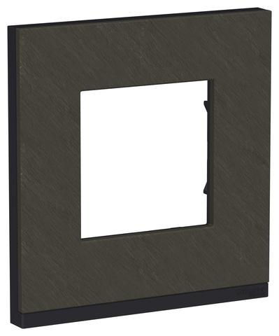 Рамка на 1 пост, горизонтальная. Цвет Камень/антрацит. Schneider Electric Unica Pure. NU600287