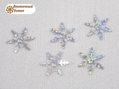 Пайетки снежинки серебряные маленькие 17 мм