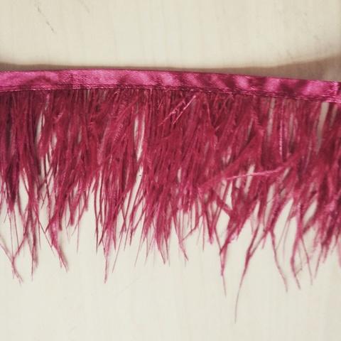 Тесьма  из перьев страуса h 8-10 см.,бордовый