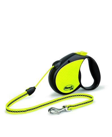 Flexi Neon рулетка, размер S, длина 5 м, трос, лимонный