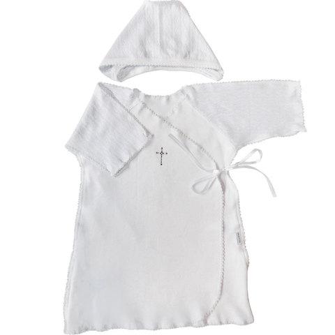 Папитто. Набор для крещения мальчика, рубашка и чепчик