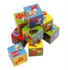 K09-8208 Кубики пластиковые 9 шт., Азбука с картинками
