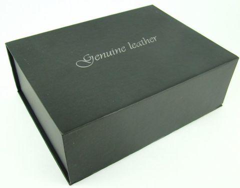Коробка подарочная большая для 2-х ремней из картона чёрная на магните 20,5х15х7 см арт.5001