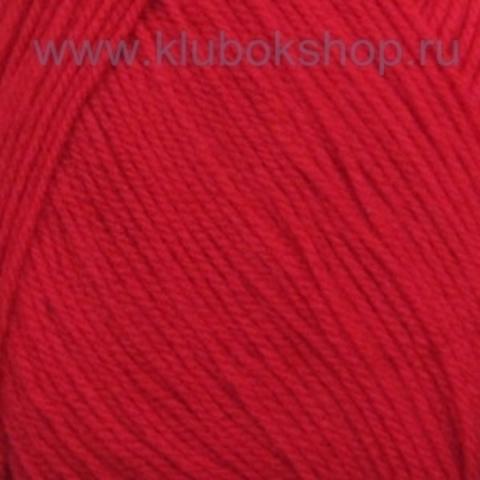 Пряжа Детская новинка (Пехорка) цвет красный мак 88
