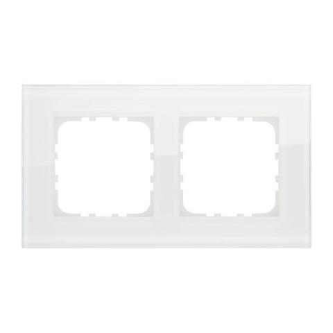 Рамка на 2 поста, натуральное стекло. Цвет Белый. LK Studio LK80 (ЛК Студио ЛК80). 844213-1