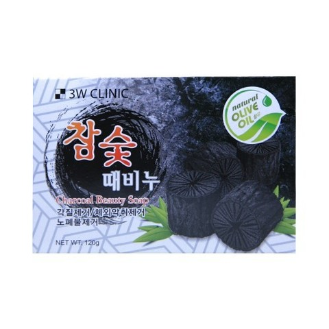 Мыло кусковое УГОЛЬ 3W CLINIC Charcoal Beauty Soap, 120 гр