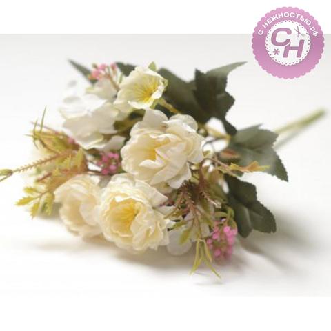 Розы искусственные волнистые, букет 5 голов с травкой, 27 см.
