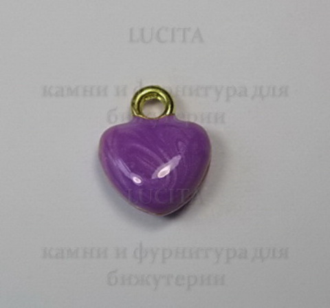 """Подвеска с эмалью """"Фиолетовое сердечко"""" 11х10 мм (цвет - золото) ()"""