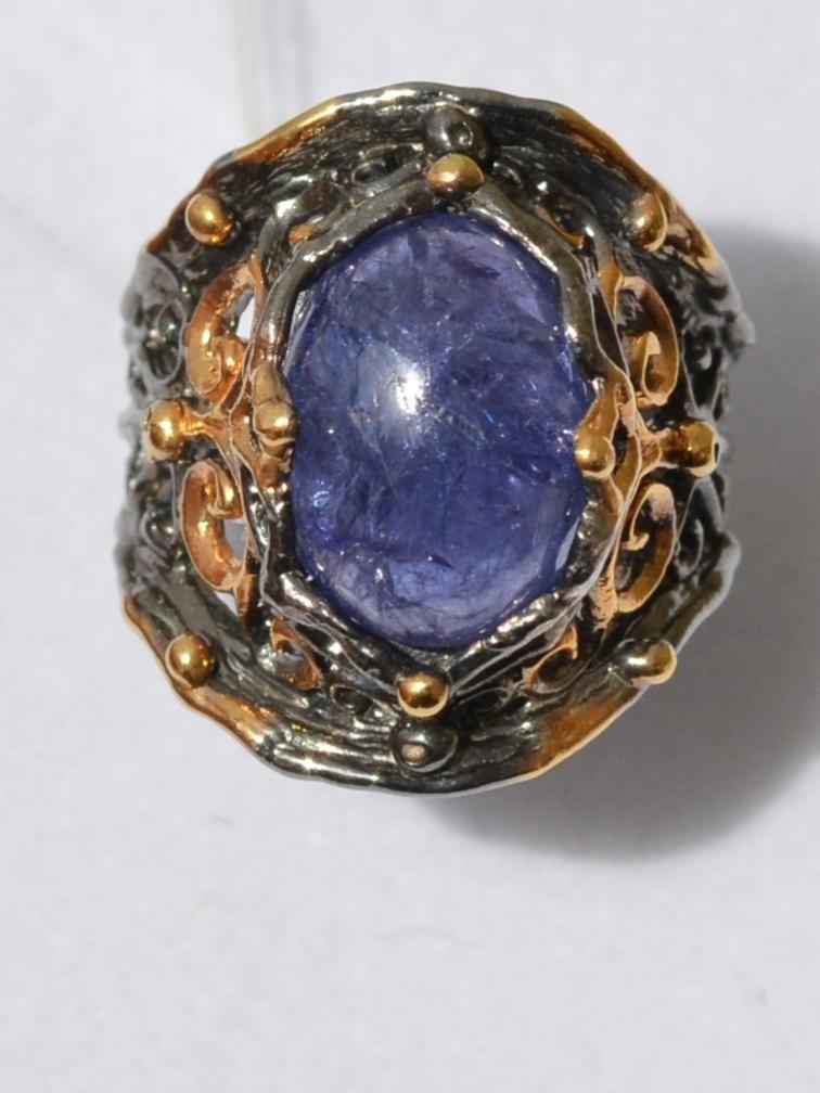 Танзанит (серебряное кольцо с позолотой)