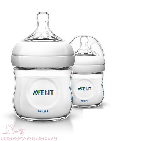 Avent. Бутылочка для кормления Natural 0+, 125 мл, 1уп/2шт