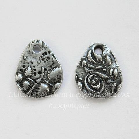 """Подвеска TierraCast капля """"Флора"""" (цвет-античное серебро) 15х12 мм"""
