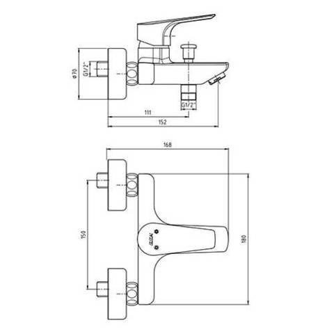 Смеситель E.С.А. Niobe 102102482EX для ванны схема