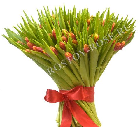 Букет из 101 красно-желтого тюльпана
