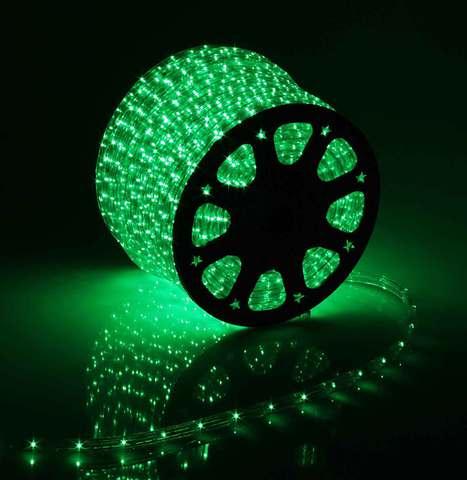 Дюралайт светодиодный, чейзинг, 13мм - 3 жилы - 36 led/m, Зеленый - 50м