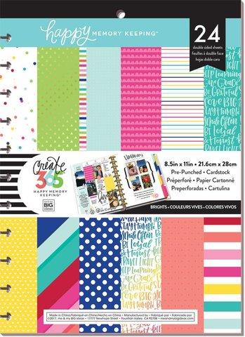 Набор бумаги с перфорацией - 21,6 х28 см (24л) -Happy Memory Keeping™ BIG Pre-Punched Cardstock Pad - Brights