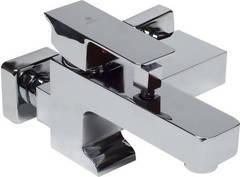 Смеситель для ванны и душа Kaiser (Кайзер) Cube 2060031 однорычажный с лейкой и шлангом, настенное крепление, хром
