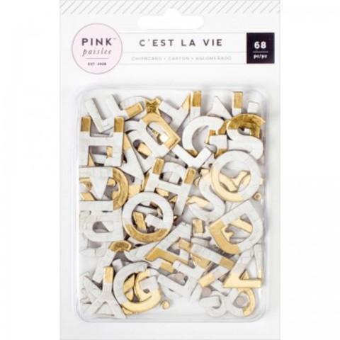 Чипборд Алфавит  C'est La Vie от Pink Paislee