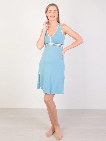 Евромама. Сорочка для беременных и кормящих с V-образным вырезом, меланж голубой вид 1