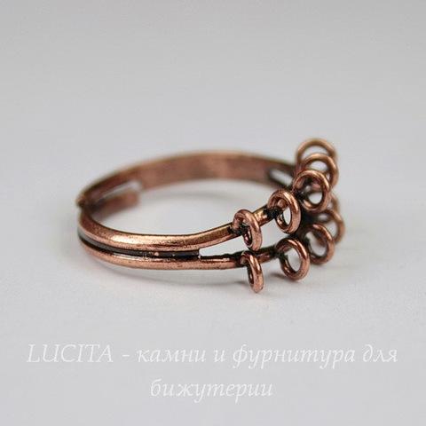 Основа для кольца с петельками (10 петелек) (цвет - античная медь)